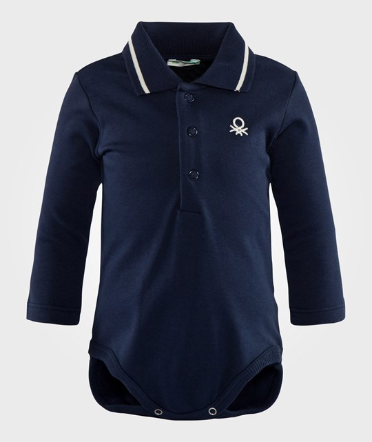 United Colors of Benetton Polo Shirt With Body 3 Button At The Front And Line On The Colar Navy Blue