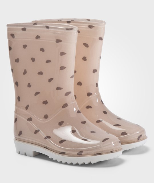 United Colors of Benetton Heart Print Wellington Boots Pink Rosa