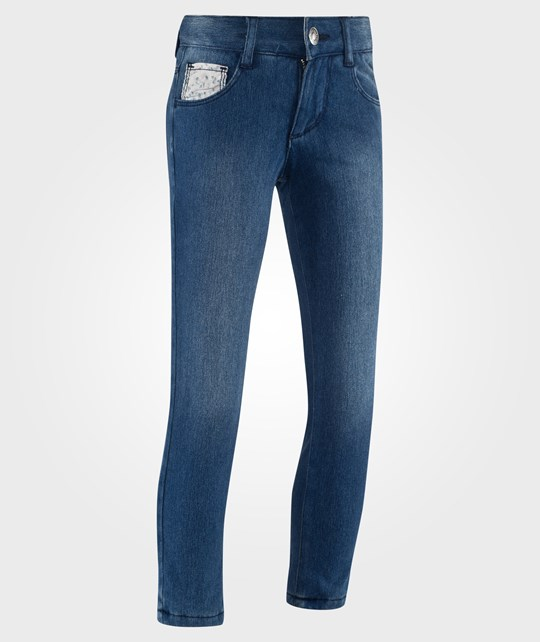 United Colors of Benetton Jersey Lined Washed Denim With Expandable Waist Blue Blue