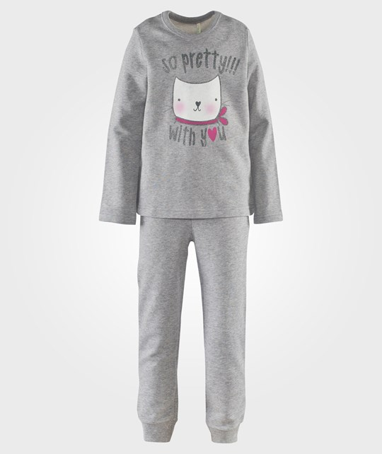 United Colors of Benetton 2 Piece Track Set L/S Animal Picture On The Jumper Grey Grå