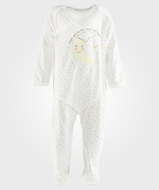United Colors of Benetton Bodysuit With Opening At The Front And Moon Print  Off White White