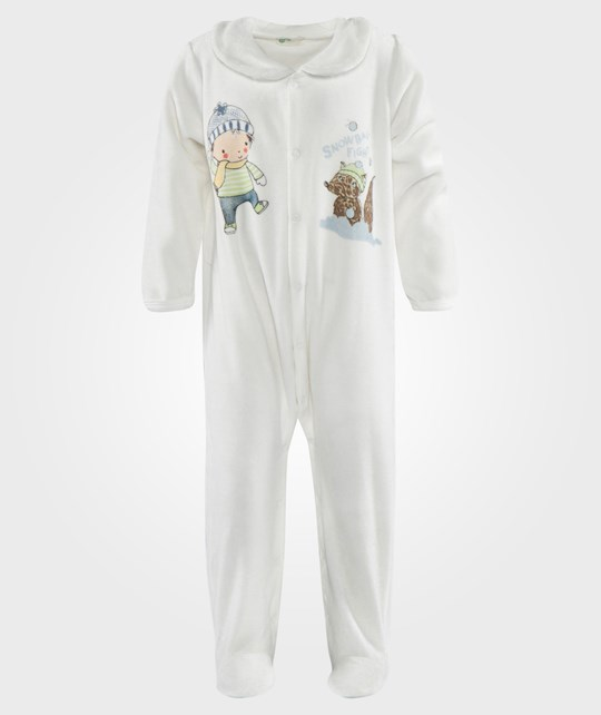 United Colors of Benetton L/S Body Suit With Colar Off White White