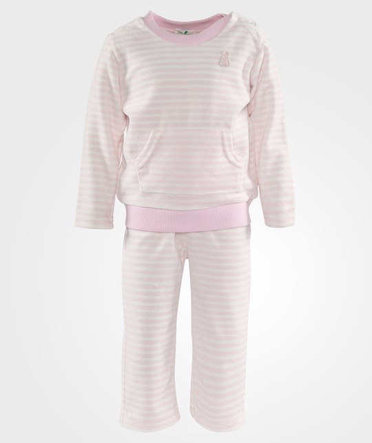 United Colors of Benetton Striped Velure Sweater And Pants Set Pale Pink розовый