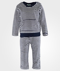 United Colors of Benetton Striped Velure Sweater And Pants Set Navy
