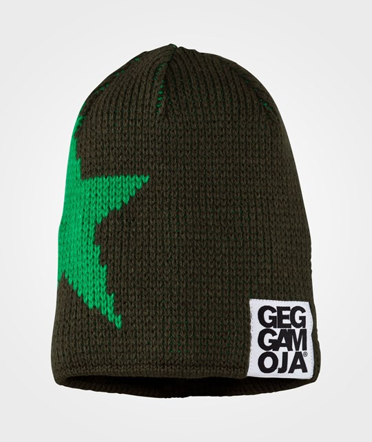 Geggamoja Knitted Star Cap D.Green Green