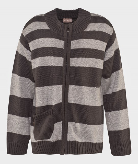 Hust&Claire Zip-Up Striped Cardigan Grey