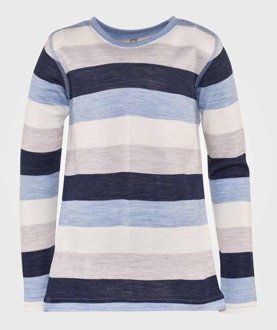 Hust&Claire Merino Long Sleeved Tee in Blue Blå