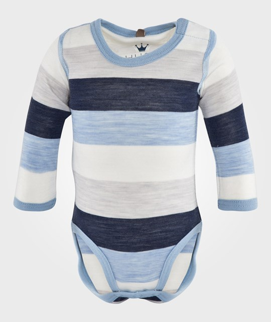 Hust&Claire Striped Onesie in Blue Dawn Blue