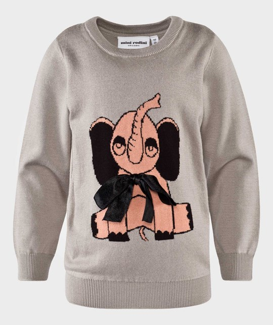 Mini Rodini Elephant Sweater Grey Sort