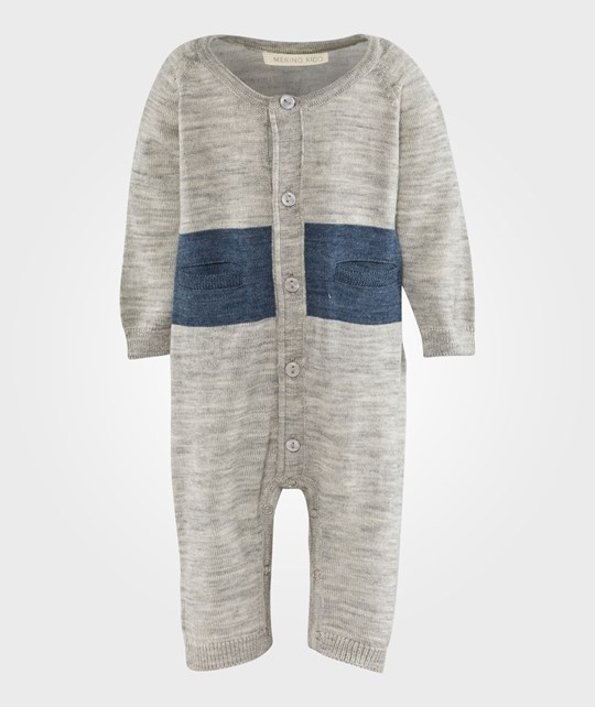 Merino Kids Cocooi All in One/Growsuit Grey/stripe Navy Grå