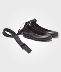 DOLLY by Le Petit Tom Ballerina Black Leather Svart