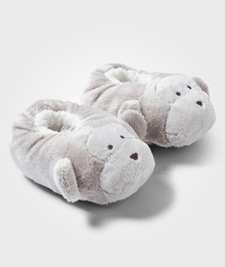 The Little White Company Taupe Monkey Snuggle Slippers