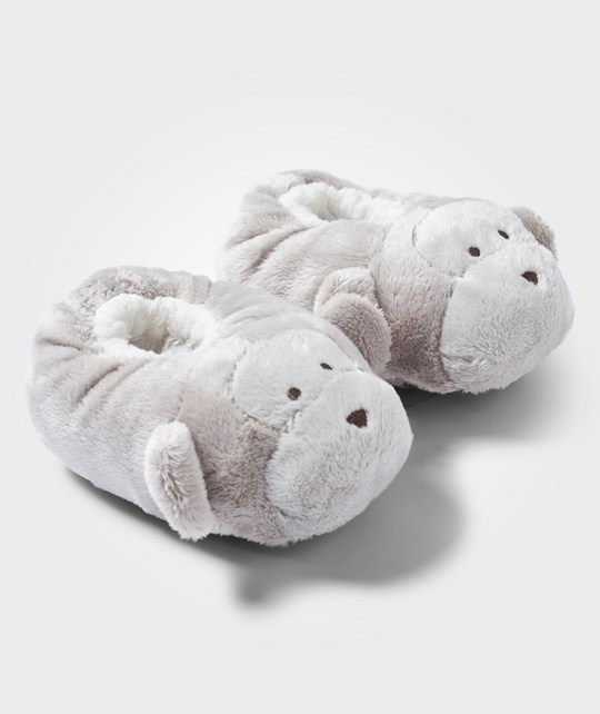 The Little White Company Taupe Monkey Snuggle Slippers Beige