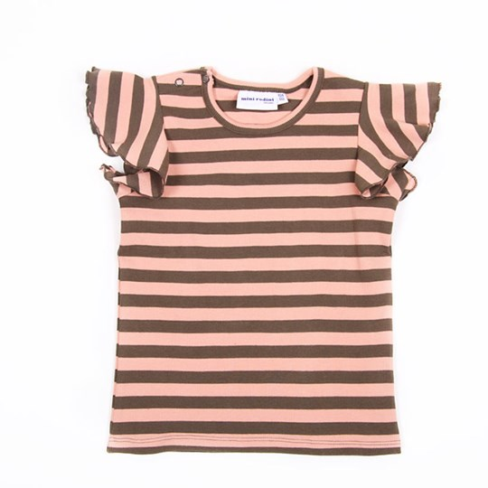 Mini Rodini Wing Tee Big Stripe Pink Pink
