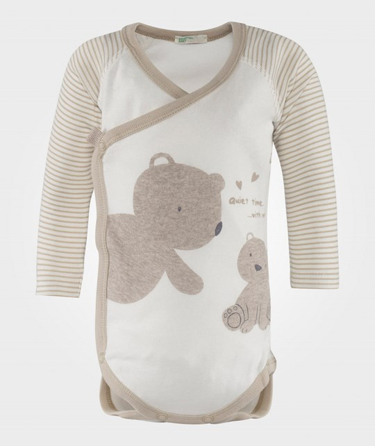 United Colors of Benetton Long Sleeve Teddy Onesie Off White White