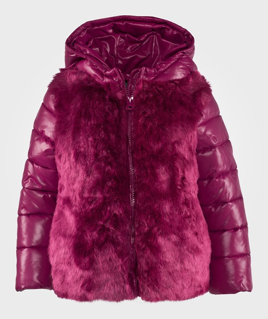 United Colors of Benetton Fake Fur Reversable Puffa Jacket Fuschia Rosa