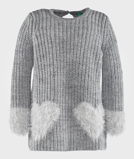 United Colors of Benetton Ribbed Knit With Heart Details Melange Grey Grey