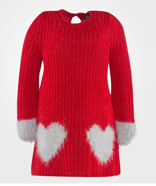 United Colors of Benetton Ribbed Knit With Heart Details Red Punainen