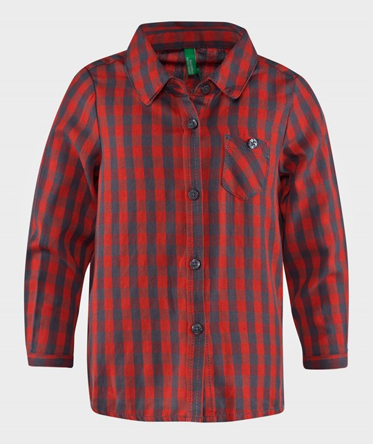 United Colors of Benetton Gingham Shirt With Front Pocket Shirt Red Red