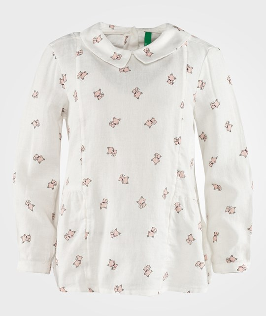 United Colors of Benetton Cat Print Blouse White White