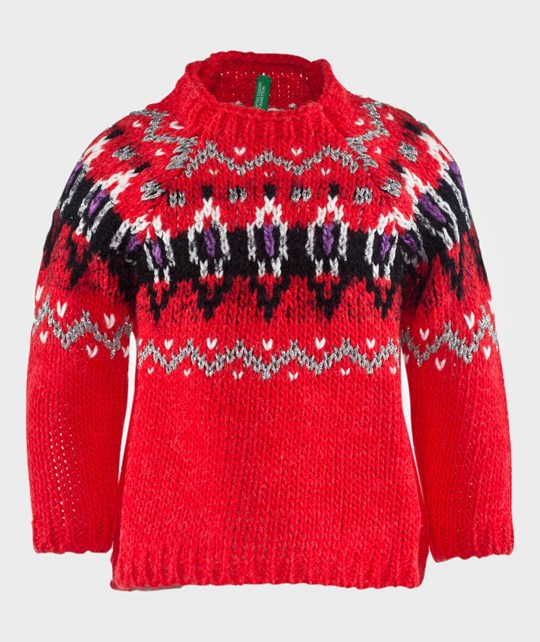 United Colors of Benetton Textured Funnel Neck Stylized Knit Jumper Red Red