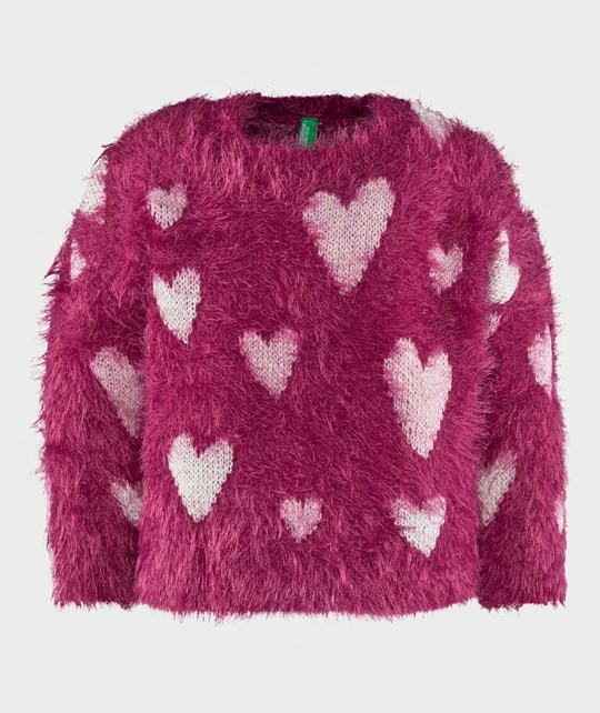United Colors of Benetton Fluffy Knit Heart Jumper Fuchsia Rosa