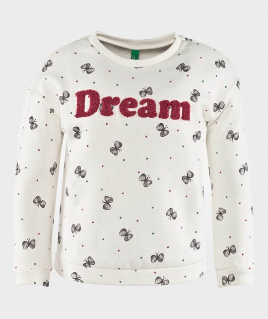 United Colors of Benetton Butterfly Print Sweatshirt Off White Hvid