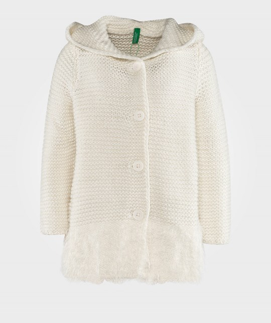 United Colors of Benetton Ribbed Knit Cardigan With Teddy Ear Hood Off White Valkoinen