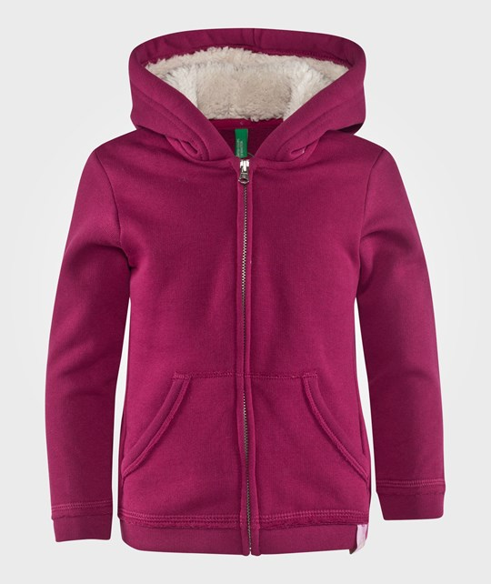 United Colors of Benetton Fleece Lined Jersey Hoodie With Front Pockets Fuschia Rosa