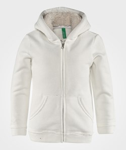 United Colors of Benetton Fleece Lined Jersey Hoodie With Front Pockets Off White
