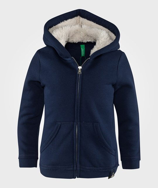 United Colors of Benetton Fleece Lined Jersey Hoodie With Front Pockets Navy Blue