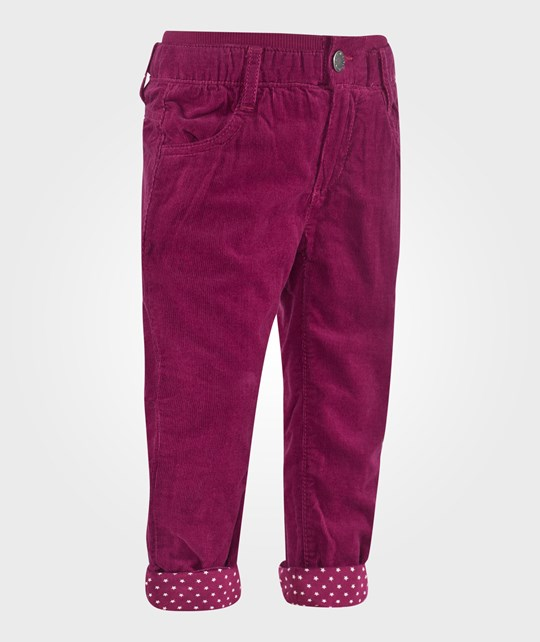 United Colors of Benetton Fine Cord Jersey Lined With Polka Dots Five Pockets Fuschia Pink