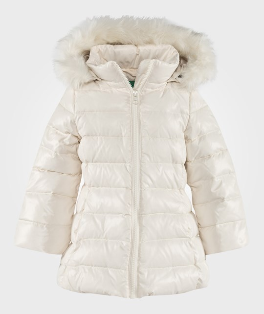 United Colors of Benetton Long Puffa Coat With Faux Fur Trim Hood Off White White