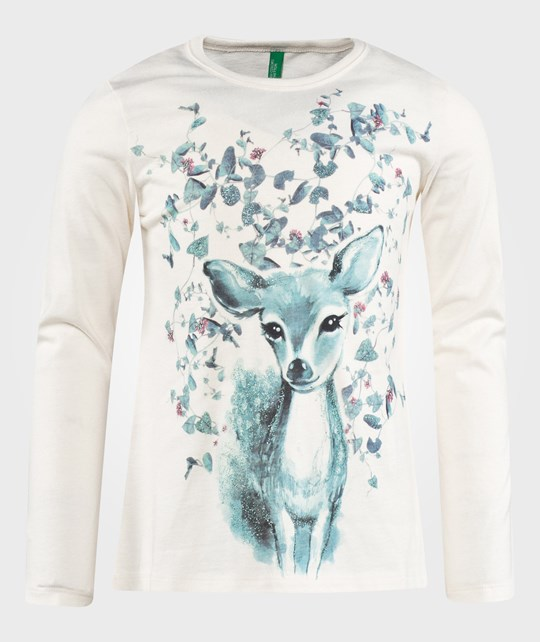United Colors of Benetton Baby Deer Print T-Shirt Off White White