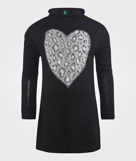 United Colors of Benetton Leopard Heart Sweater Dress Black Svart
