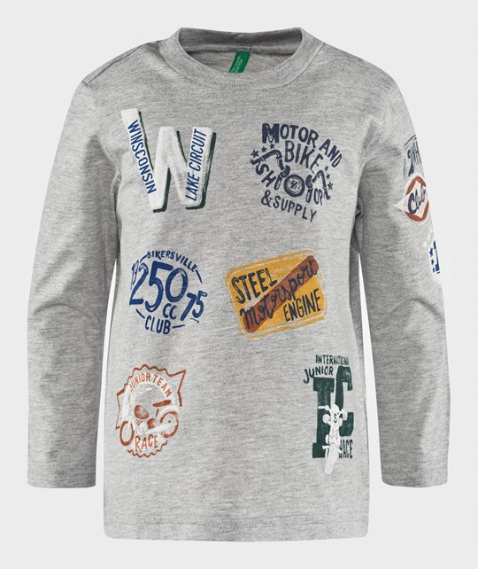 United Colors of Benetton Motorcycle T-Shirt Grey Grå