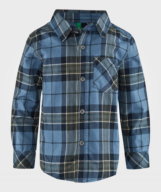 United Colors of Benetton Check Casual Shirt Navy Blå