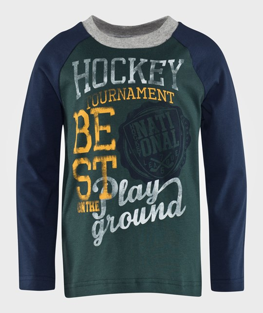 United Colors of Benetton Hockey T-Shirt With Contrast Colour Sleeve Green Grønn