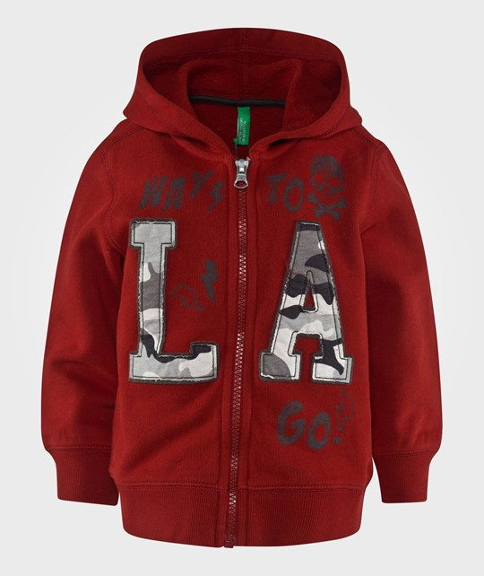 United Colors of Benetton Zip Up Hoody With Writing On The Front Red Rød