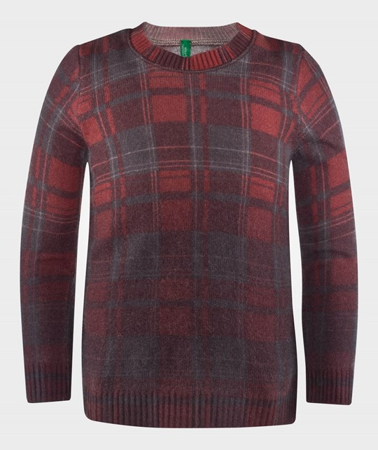 United Colors of Benetton Check Crew Neck Knit Jumper Red Rød