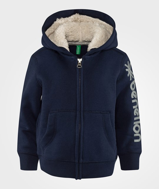 United Colors of Benetton Zip Up Logo Hoodie Navy Blue