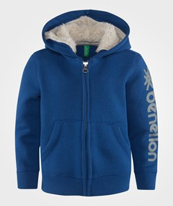 United Colors of Benetton Zip Through Logo Sleeve Hoogie With Faux Fur Lined Hood Blue