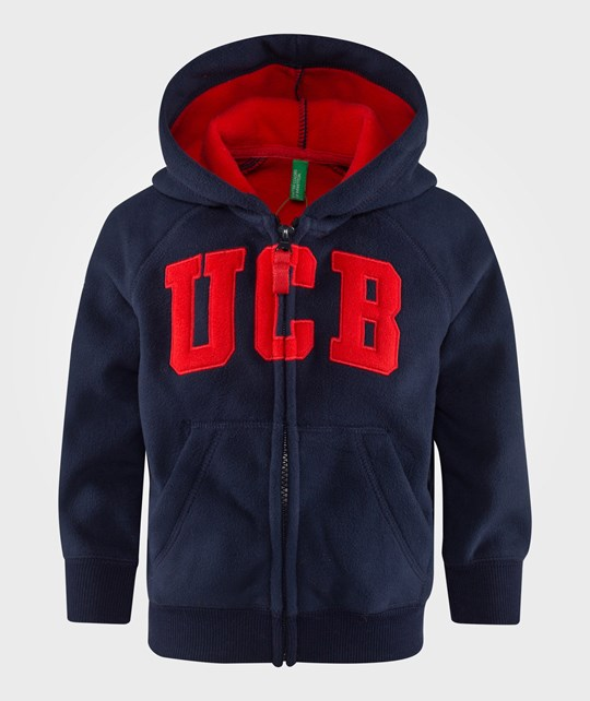 United Colors of Benetton Fleece Zip Up College Hoodie Navy Blue