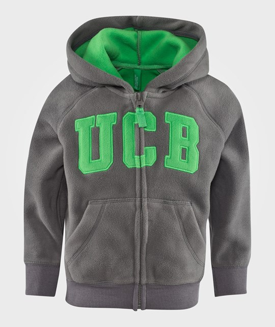 United Colors of Benetton Fleece Logo Zip Through Hoodie With Front Pockets Grey Grå