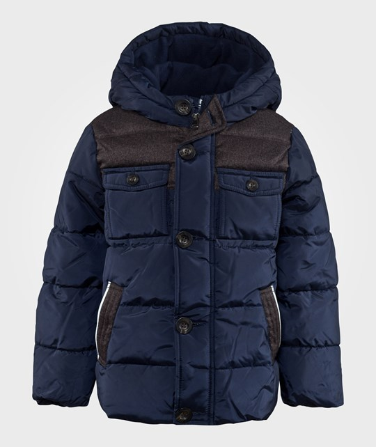 United Colors of Benetton Hooded Puffa Jacket Navy Blå