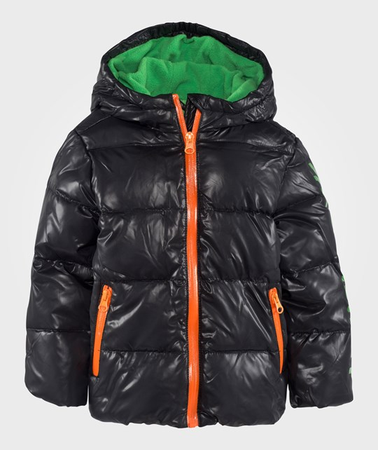 United Colors of Benetton Hooded Logo Puffa Jacket With Contrast Colour Details Black Sort