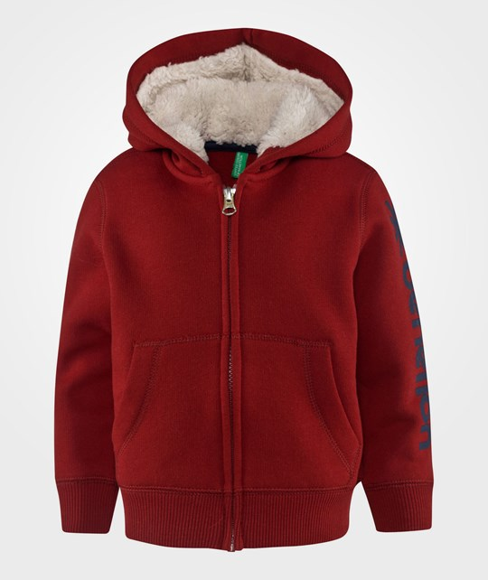 United Colors of Benetton Zip Through Logo Sleeve Hoogie With Faux Fur Lined Hood Red Punainen