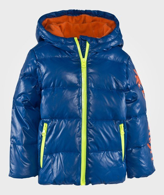 United Colors of Benetton Hooded Logo Puffa Jacket With Contrast Colour Details Blue Sand