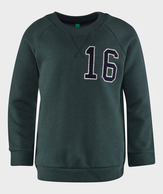 United Colors of Benetton Crew Neck Jersey Sweater With Number Detail Green Grøn