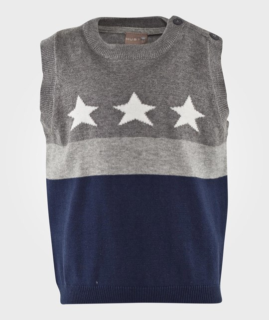Hust&Claire Waistcoat Stars And Stripes Grey Grå